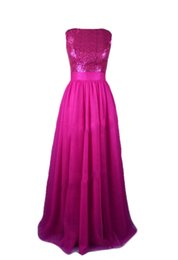 Wholesale Ivory Junior Brides Dress - Real Photos A-line Fuchsia Bridesmaid Dresses Long 2017 Zipper Sequined Chiffon Bride of Honor Gowns New