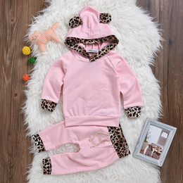Wholesale Leopard Print Winter Hoodie - Baby Girls Leopard Print Clothing Set Hoodies Pants Kids Outfit Toddler Tracksuit Newborn Cotton Long Sleeve Children Costume Clothes