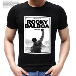 Wholesale Wholesale Movie Poster Printing - Wholesale- Fashion Men ROCKY BALBOA Printed T Shirts Famous Movie ROCKY BALBOA POSTER t-shirts Top Tee Shirts
