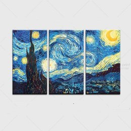 Wholesale 3pcs Oil Painting - Framed 3PCS Starry Night by Vincent Van Gogh,Hand Painted Abstract landscape Wall Decor Art Oil Painting On Quality Canvas.Multi size Vg025