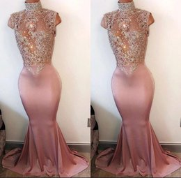 Wholesale Sequins Crystal Beaded Gown - 2017 Elegant Mermaid Prom Party Dresses High Neck Pearls Sleeveless Lace-Appliques Cutaway Side Crystal Beaded Evening Gowns Custom Made