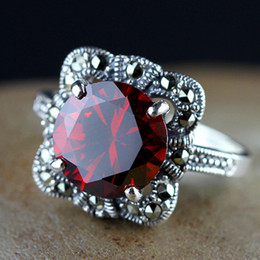 Wholesale Red Solitaire Garnet Ring - S925 Sterling Silver Thai silver jewelry hand inlaid garnet gem crystal four claw Womens personality Ring FREE SHIPPING