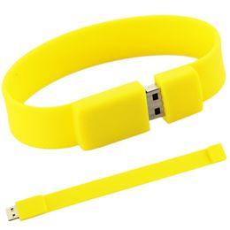 Wholesale Usb Flash Bracelets - 100% Brand New Fashion Silicone Bracelet 128GB 16GB 32GB 64GB USB 2.0 Flash Memory Stick Pen Drive Thumb U Disk