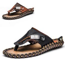 Wholesale Flip Flops Clips - Promotion Black Brown Clip Toe Slippers For Men 2017 Summer New Arrival Leisure Fashion Male Shoes Large Size 44 45 Hausschuhe