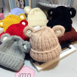 Wholesale Crocheted Bear - Korean Beanie for baby Lovely bear ears Infants Warm and windproof Knit hats Crochet Woolen hat 0-4YEARS 2017 New style