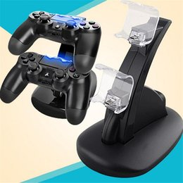 xbox dual Rebajas LED de doble cargador USB Dock Mount para PS4 Xbox One inalámbrico Playstation controlador de soporte de carga para PS4 Xbox One Gamepad con paquete