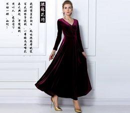 Wholesale Korean Dresses New Fashion - Fashion New Korean long sleeve women's Dresses Gold velvet dresses womens dresses long dresses purple