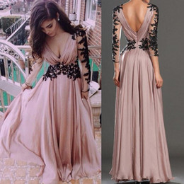Wholesale Long Black Backless Chiffon Dress - Dusty Pink A Line Chiffon Prom Dresses 2017 Sexy Deep V Neck Sheer Long Sleeve Evening Gowns Black Appliques Backless Long Pageant Gowns