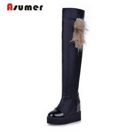 Wholesale Platform Size 32 - Wholesale- Large size 32-43 2017 new arrival over the knee high boots round toe platform solid black winter boots simple casual women shoes