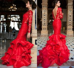 Wholesale Mermaid Pageant Elegant - Elegant Red Lace Prom Dresses 2017 Sexy Open Back Long Sleeves Tiered Evening Gowns Mermaid Floor Length Formal Pageant Dress