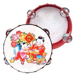 Venta al por mayor- Juguete para bebés De madera tambor tradicional chino Juguetes musicales Sonajeros Juguetes para niños Juguetes educativos Regalos Mano Tambor Tamboril Campana desde fabricantes