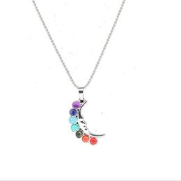 Wholesale Asian Christmas Ornaments - 2017 fashion crystal Alloy curved moon color diamond ornament long chain Necklace original natural stone Pendant Necklace for women Jewelry