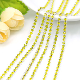 Wholesale Close Trimmer - Wholesale Close Rhinestone Cup Chain Plated Silver Cup Base Fill In Citrine Chaton Chain Trimming For DIY, SS6.5-SS12, 10Meters Pack