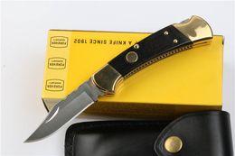 дешевые атласные сумки Скидка Drop Shipping 112 авто тактический складной нож 440C атласное лезвие черное дерево ручка EDC карманные ножи с кожаной оболочкой подарочный нож