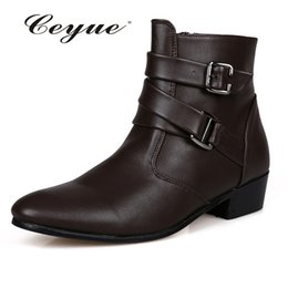 Wholesale Height Increasing Motorcycle Boots - Wholesale- High-Top Soft Leather Motorcycle Boots Pointed Toe Nubuck Wedding Shoes Oxford Winter Boots Masculina Sapatos Height Increasing