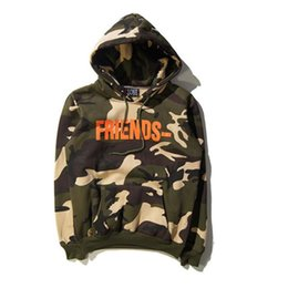 Wholesale Military Camo - Mens Vlone Friends Letter V Print Camouflage Sweatshirts Army Green Military Camo Hoodie Hip hop Fashion Tracksuit Hoody S-XXL
