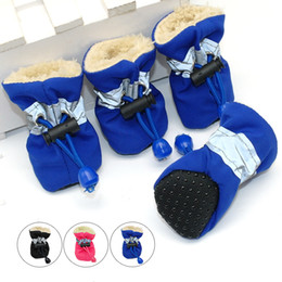 Wholesale Winter Dog Boots Medium - 4pcs Waterproof Winter Pet Dog Shoes Anti-slip Rain Snow Boots Footwear Thick Warm For Small Cats Dogs Puppy Dog Socks Booties