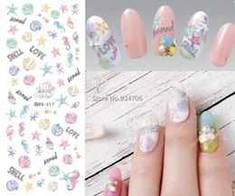 Wholesale Fingernail Decals Stickers - Wholesale- DS217 DIY Nail Design Water Transfer Nails Art Sticker Cartoon Ocean Shell Nail Wraps Sticker Watermark Fingernails Decals