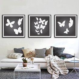 Wholesale Butterfly Canvas Wall Art - Canvas Painting Black White Butterfly Decoration Wall Art Painting Canvas Poster Wall Pictures Living Room Home Decor