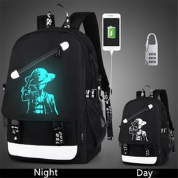 Wholesale China Printing Usb - Men Backpack Fashion with External USB Charging charger function Laptop Mochila Cartoon Anime Luminous School Noctilucent Bags