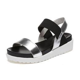 Wholesale Platform Flat Sandals Straps White - Women sandals 2017 summer comfortable elastic band platform sandals women high quality PU breathable casual sandalias mujer