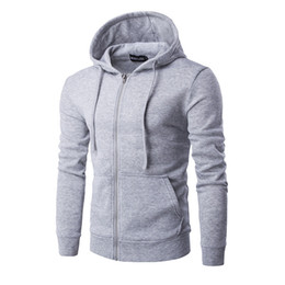 Wholesale Brown Overalls - Wholesale-Men's new hot hooded pure color large zipper pockets fleece hoodies fashion leisure coat clothes overalls Black red blue gray