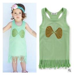 Wholesale Toddler Straight Dresses - Kids Clothing Girls Tassel Dresses Cotton 2017 Flower Letter Summer Dress Outfits Baby Girls Princess Toddler Infant Birthday Party Dress