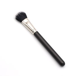 makeup black hair Coupons - 1pcs Black Feature Wood Handle Natural Synthetic Hair Duo Fiber 159 Smooth Refine Paddle Shaped Blush Brush Makeup Tools
