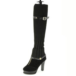 Wholesale Ladies Black Thigh High Boots - 2017 Autumn Winter Over The Knee Boots Women Stretch Knitting Can be Disassembled High Heels Zip Sexy Ladies Shoes SX682