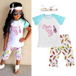 Argentina Western Girls Clothing Set Verano de manga corta para niñas camiseta volante Capris Outfit Carta de impresión Icing Girls Tees Cute Kids Clothes Suministro