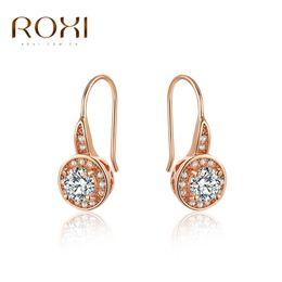 Wholesale Roses Chandelier - ROXI Brand Fashion Rose Gold Color Zircon Crystal Ear Stud Earrings Trendy Elegant Women Wedding Party Jewelry Earring