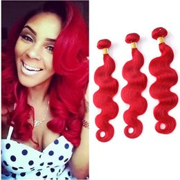 Wholesale Remy Hair Dark Wine - Dark Wine Red Remy Hair Bundles Body Wave Quality Red Colored Brazilian Human Hair Weave Red Virgin Hair Bundles 8A Grade
