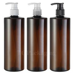 Wholesale empty plastic bottles shampoo - Wholesale- 10PCS LOT-500ML Spiral Lotion Pump Bottle,Amber Plastic Cosmetic Container,Empty Shampoo Sub-bottling,Sample Essence Oil Bottle