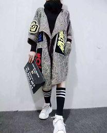 chal grueso al por mayor Rebajas Al por mayor-2016 Nuevas Mujeres Individualidad Apliques Cardigans Largos Moda Gruesa Suéter de Punto Abrigo de Las Mujeres Suéter Chal Y Ponchos