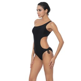 Wholesale Sexy Monokini One Shoulder - 2017 New Sexy One Piece Swimsuit Bandage Women Solid Black One Shoulder Cut Out Monokini Swimwear Bathing Suit Bodysuit Beach Wear
