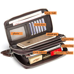 Wholesale Large Wallet Clutch Organizer - Wholesale- 2016 New Handbag Men Long Large Capacity PU Leather Wallets Male Business Black Brown Clutch Double Zipper Wallet Bags Purses