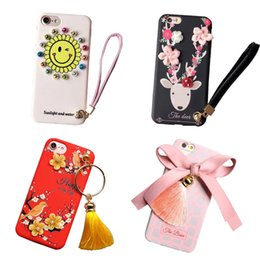 Wholesale Iphone Rhinestone Lanyards - For iPhone 7 6S 6 Plus Paste 3D Plum Flower Soft TPU Back Cover With Lanyard Bowknot Deer pattern Case With OPP Bag