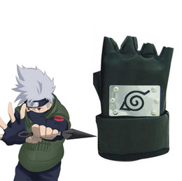 Wholesale Black Anime Characters - Wholesale- Free Shipping Naruto Hatake Kakashi Konoha Ninja A pair of Black Gloves Anime Cosplay Accessories