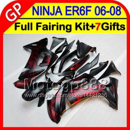 Wholesale Ninja Red - 8gifts Body For KAWASAKI NINJA 650R ER-6F 06-08 4GP92 flat black ER6F 06 07 08 650 R ninja650 ER 6F 2006 2007 2008 Fairing red flames Kit