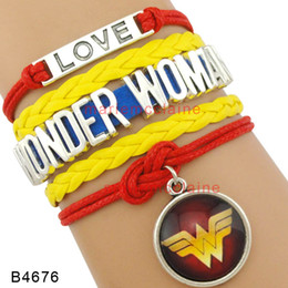Wholesale Blue Wonder Blueing - Custom Infinity Love wonder woman Bracelet wonder woman charm red blue for woman custom Any Themes Dropshipping