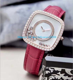 Wholesale Happy Ladies - Luxury Brand Happy Womens watch Square diamond bezel white mother-of-pearl dial Quartz Leather Strap 36mm SEVEN COLORS Ladies watches