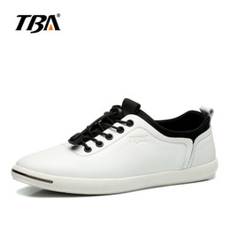 Wholesale Chinese Shoes Brands - TBA Chinese Brand Men's White blue black Casual Flats Shoes High Quality Charm Lace Up Leather Loafers Non-slip Shoes Size 38-44