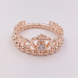 Wholesale princess party plates - Rose Gold Plated & 925 Sterling Silver Ring My Princess Tiara European Pandora Style Jewelry Charm Crown Ring Gift 180880CZ