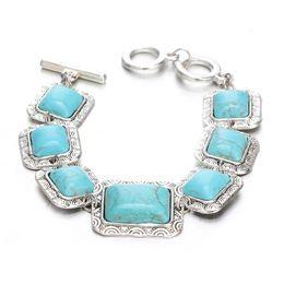 Wholesale Vintage Indian Bead Bracelet - Vintage Silver Pendants Bracelet Bangles Women Jewelry Water Drop Squar Round Pattern Beads Turquoise Bracelet Fashion 4 style