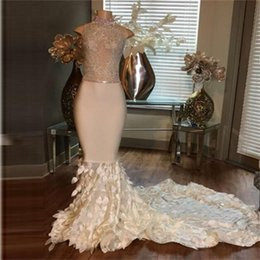 Wholesale Mermaid Prom Dress Beaded Bodice - Shinning High Neck Prom Dresses Long Illusion Bodice Beads Sequins Homecoming Dress Party Formal Wear Layers Gown Mermaid Evening Dress