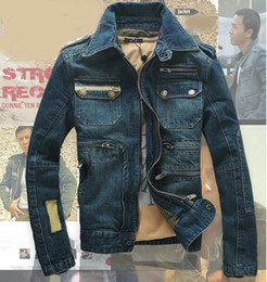 Wholesale Epaulet Crystal - Autumn Mens Jackets Denim Winter Male Jeans Jackets Mens Bomber Jacket Vintage Blue Outwear Coat And Jackets For Men A2083