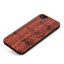 Wholesale Top Selling Iphone Cases - U&I ®Top selling Ultra thin Rosewood cell phone case Laser engraved pattern with tpu rubber coating wooden phone case