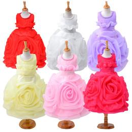 Wholesale Waist Tutu Dress - Girls dresses summer new sleeveless Waist Chiffon Dress Toddler Girls 3D Flower Princess Kids Party wedding Formal Dress