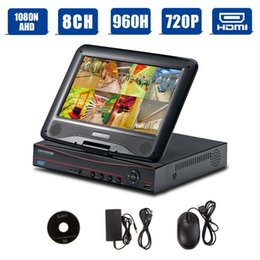 Wholesale Lcd Video Monitor Kit - H.264 10 inch LCD 8 Channel AHD DVR CCTV Kit Video Surveillance System Combo Video Monitor Recording--Black