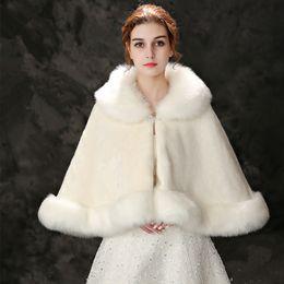 Wholesale Wedding Shawls For Bridesmaids - Jane Vini Beige Bridal Cloak Faux Fur Wraps And Shawls Shrug Bolero Coat With Crystal For Winter Wedding Bride Bridesmaid Stoles 2018 New